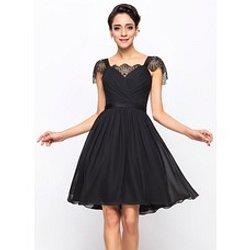 71ab1c9be21 A-Line Princess Sweetheart Knee-Length Chiffon Charmeuse Cocktail Dress  With…