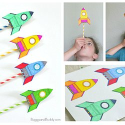 Straw Rockets With Free Rocket Template